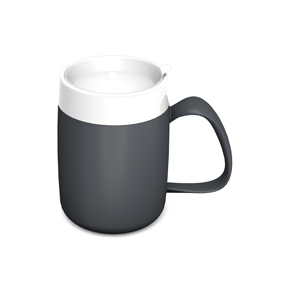 Mug with Internal Cone and discreet Drinking Lid