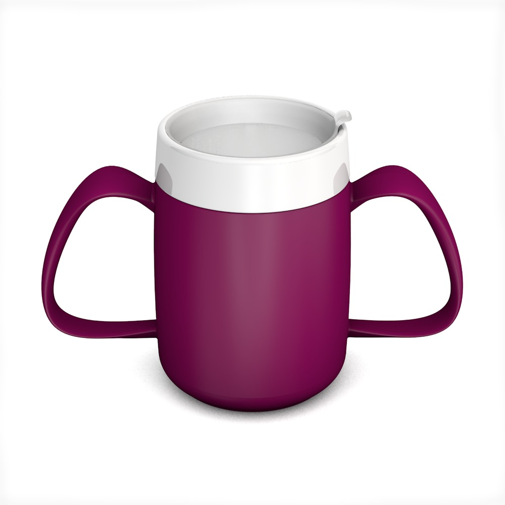 Two Handled Mug with Internal Cone 140 ml/4.9 oz with Discreet Drinking Lid