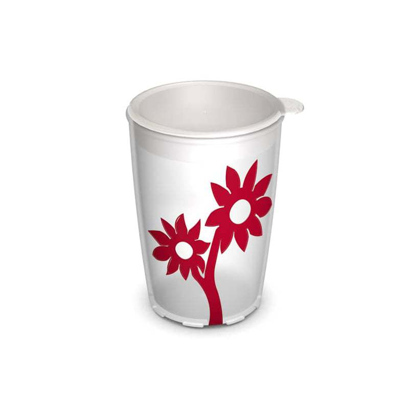 Cup with Non-Slip Flower 220 ml with Lid