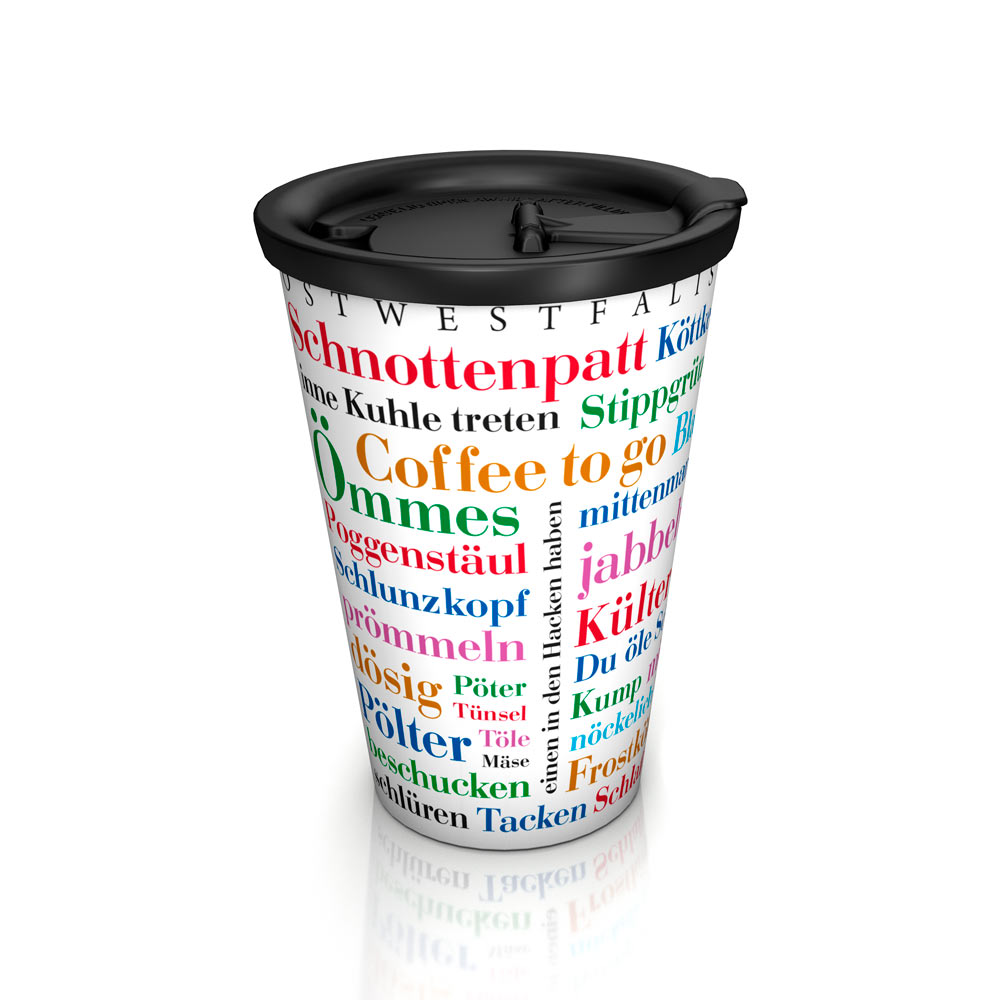 Coffee to go-Mug Ostwestfälischer Wortschatz