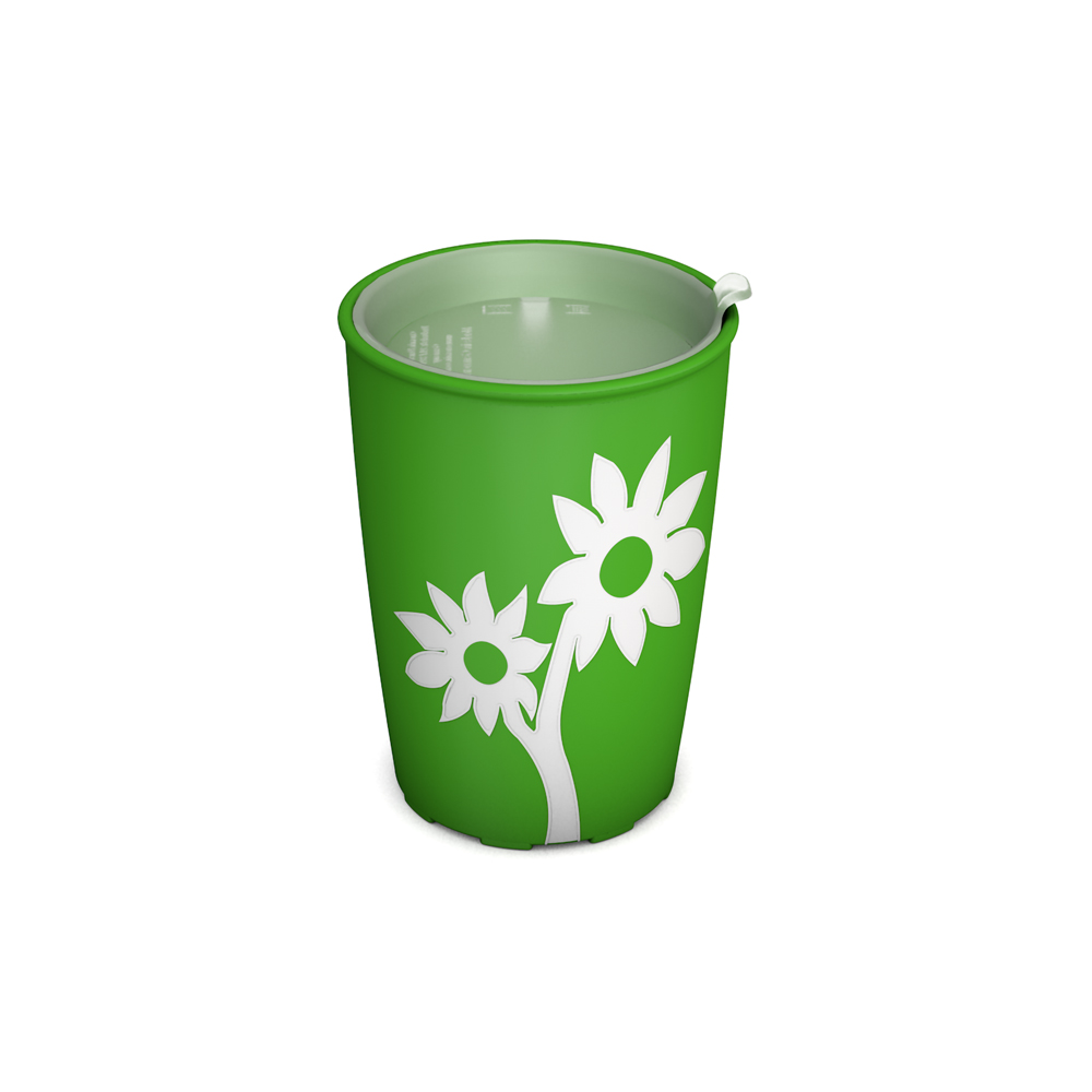 Non-Slip Cup with Flower and discreet Drinking Lid