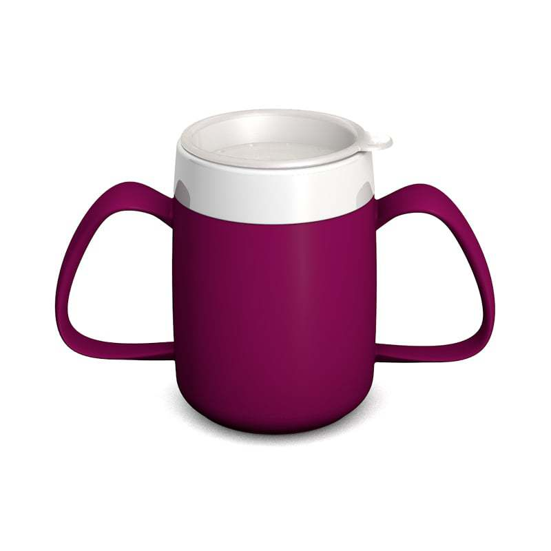 Two Handled Mug with Internal Cone and with Drinking Lid, all-round openings