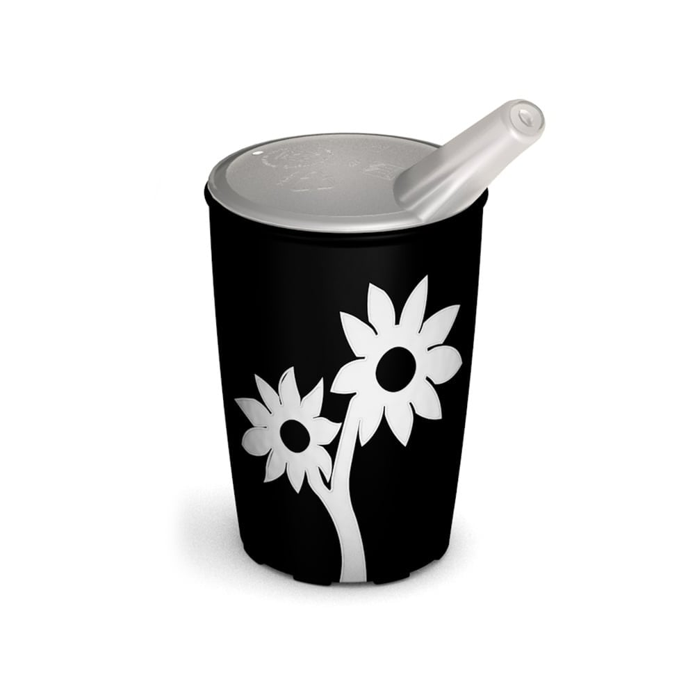 Non-Slip Cup with Flower 220 ml/7.7 oz and Spouted Lid with small opening