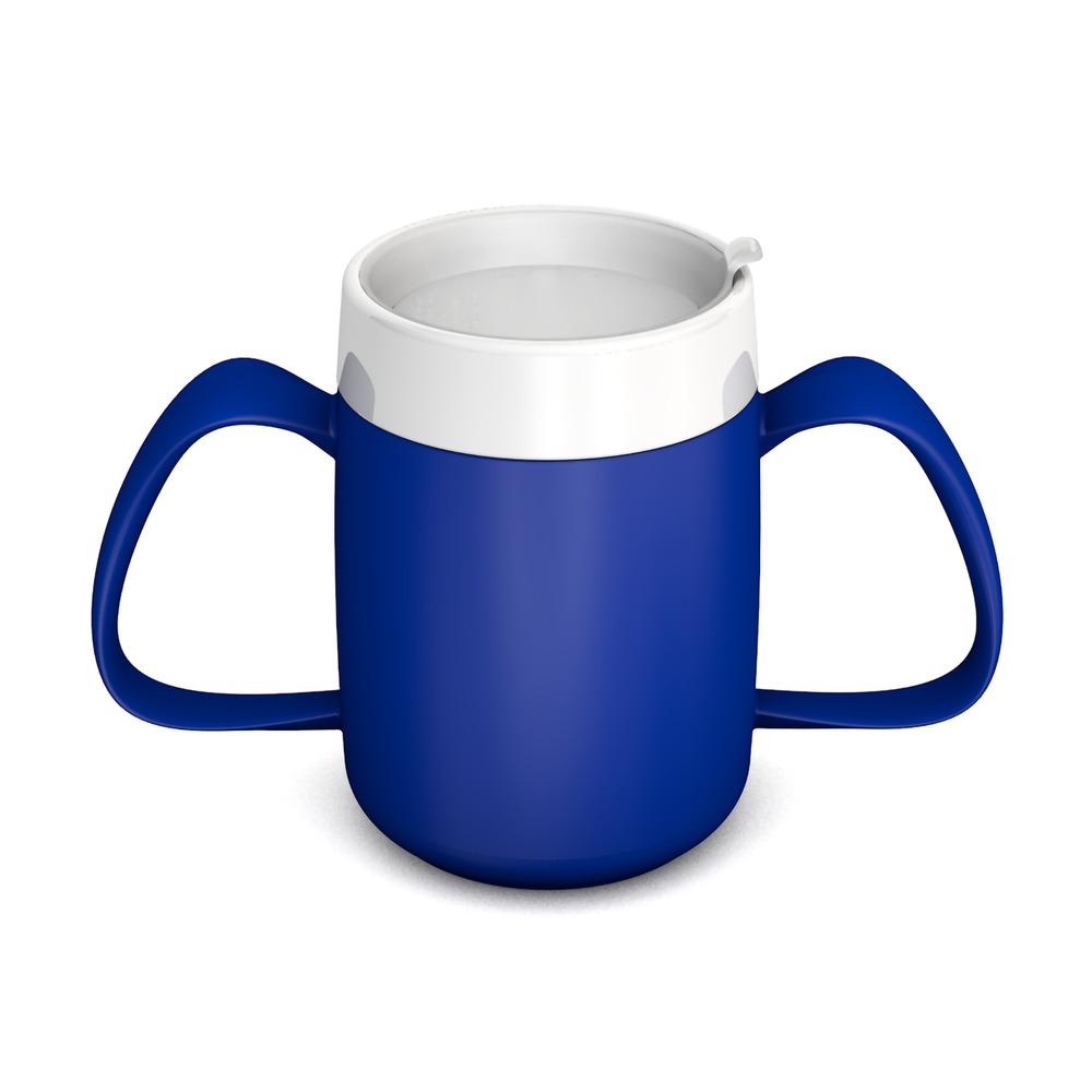 Two Handled Mug with Internal Cone and with discreet Drinking Lid