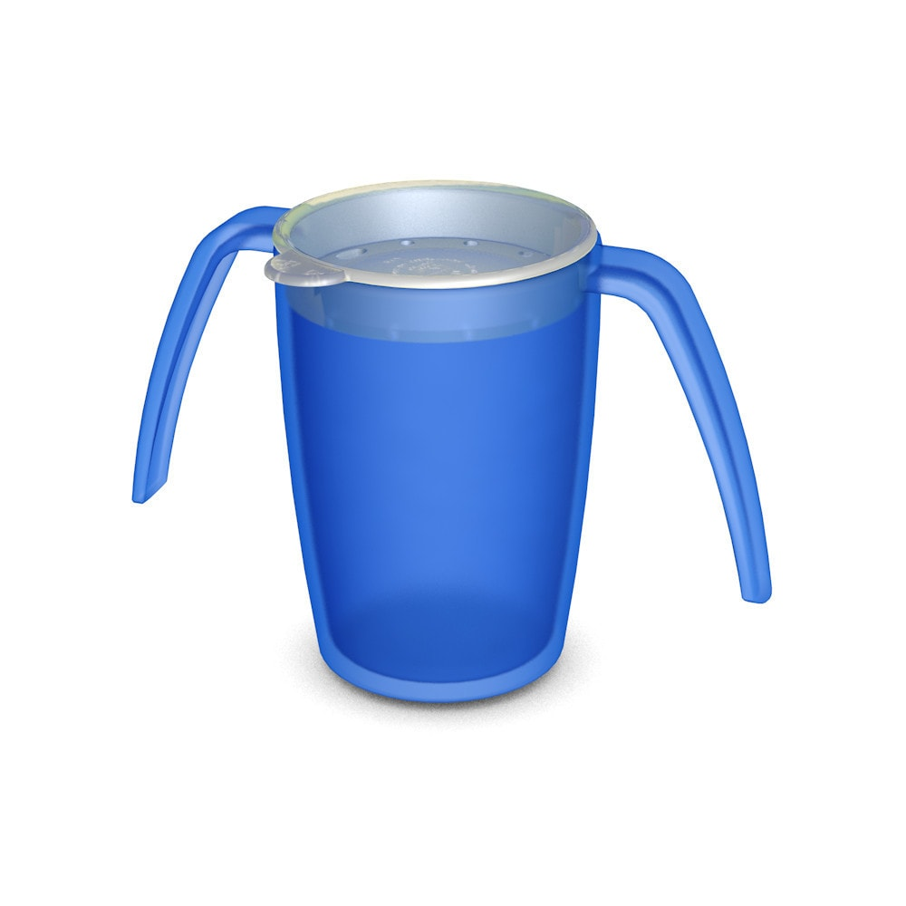 Two Handled Mug with Drinking Lid, all-round openings