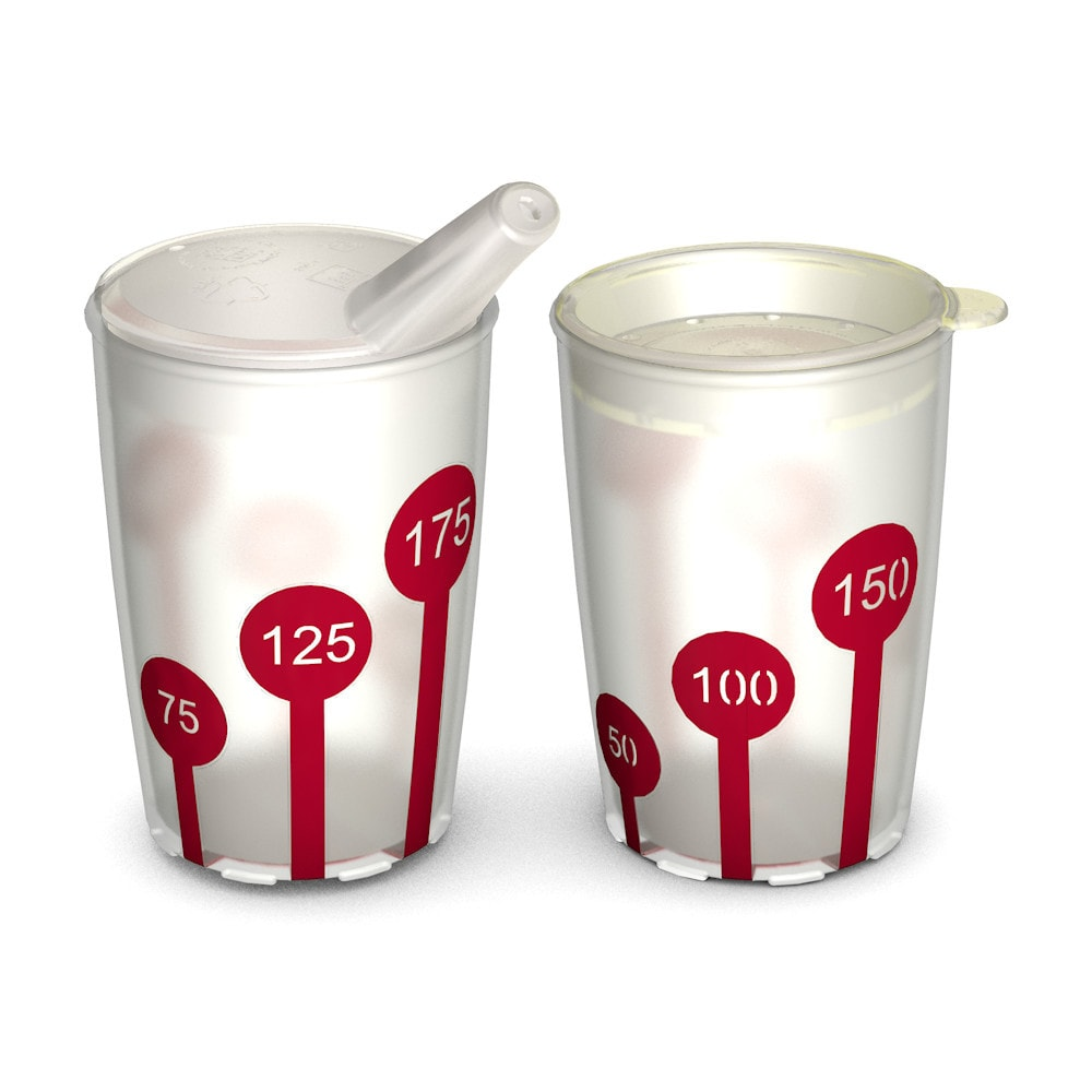 Set of Cups, 2 Non-Slip Cups with Scale 220 ml/7.7 oz, Spouted Lid and Drinking Lid